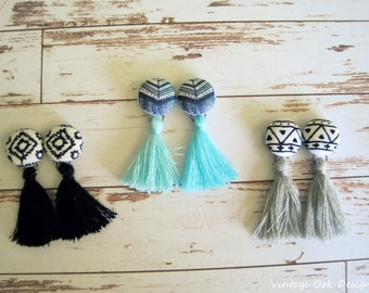 Tassel Earrings, Tassel Jewelry, Tassel Drop & Dangle Earrings,Button Earrings,Button Jewelry,Fabric Button Earrings,Tassel Earrings,Tassles
