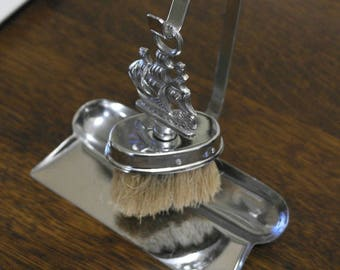 vintage chrome plate crumb brush and tray ship decorated
