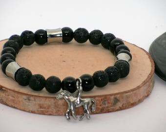 Bracelet cheval//bracelet noir//bracelet homme//horse braclet//spirit totem bracelet//native bracelet//black bracelet//stretch bracelet