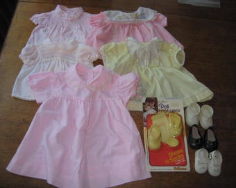 Vintage Lot 5 Pink Baby Doll Dresses And Shoes