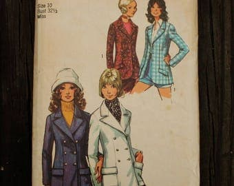 25%off Sizzlin Summer Sal Simplicity 9610 1970s 70s Single Double Breasted Blazer Jacket Vintage Sewing Pattern Size 10 Bust 32.5