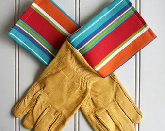 Byron Stripe Mens Leather Gardening Gloves - Fathers Gift Idea, Gift for Dad, Garden Tool, Green Thumb, Gift for Gardeners, Gift for Boss