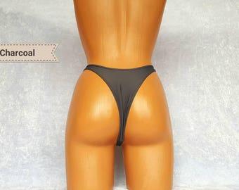 Charcoal High waisted bikini bottom 90s High waisted bikini bottoms Cheeky Bikini Bottoms Charcoal Thong bikini Micro bikini