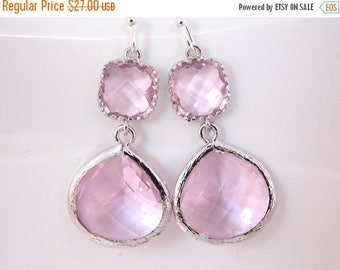 SALE Pink Earrings, Glass Earrings, Silver Earrings, Pink, Soft Pink, Light Pink, Wedding Jewelry, Bridesmaid Earrings, Bridal Bridesmaid Gi