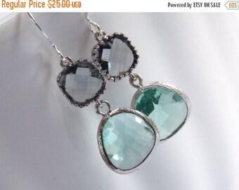SALE Aqua Earrings, Gray Earrings, Grey Earrings, Silver Earrings, Glass Earrings, Wedding, Bridesmaid Earrings, Bridal Jewelry, Bridesmaid