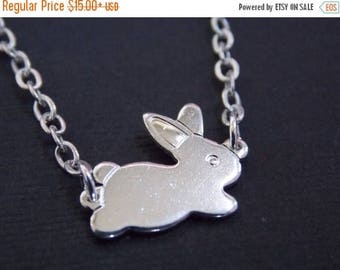 SALE Silver Necklace, Rabbit Necklace, Bunny Necklace, Silver Bunny, Silver Rabbit, Rabbit Pendant, Bunny Pendant, Small Bunny, Animal Jewel