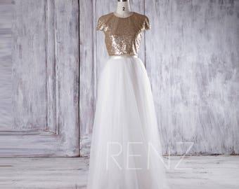 Gold Sequin Bridesmaid Dress Long, Off White Tulle Wedding Dress, Cap Sleeve Prom Dress, A Line Formal Dress Floor Length (LS182)