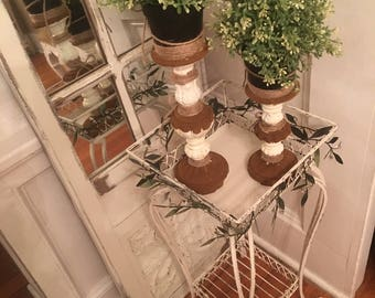 French plant stand, green leaves and clear beads, wrought iron, Anne Sloan Chalk paint