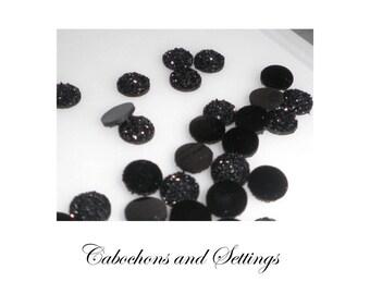 10 x Black Black Opaque  Druzy Round  10mm Bezel Cabochons - AUSTRALIA