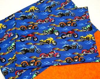 Boys Nap Mat Cover Sets - Boys Motorcycles Nap Mat Cover and Pillowcase - Bugs Penguins Rockets - Matching Envelope Back Pillow Case