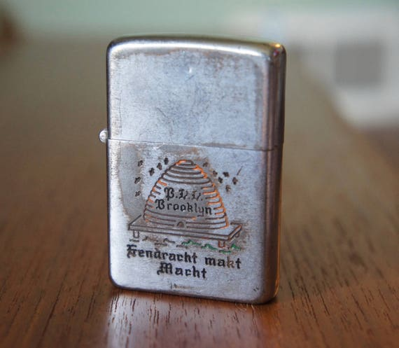 "1950's Zippo Lighter Brooklyn Masonic Fraternal Order Beehive Skep Symbol and Brooklyn dutch motto ""Eendracht Makt Macht"""