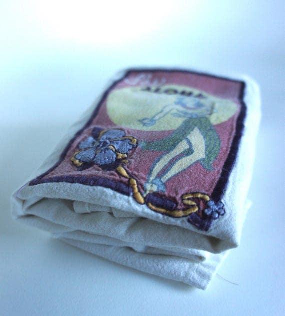 1950's Aloha Cafe Hula Girl Hawaii Souvenir Tea Towel Handkerchief Hawaiian Hula Dancer Pinup Hawaiiana Tiki