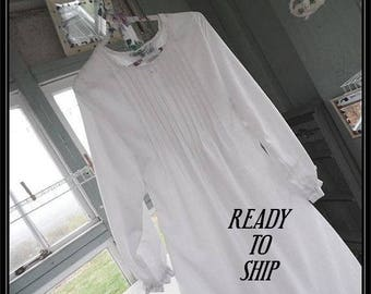 Free shipping in US-Sm.,Med.-Wicker-Long Sleeve Cotton Nightgown,Vintage Fabric, PinTucked, Waltz Length