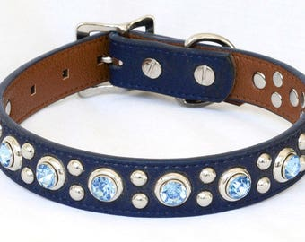 Leather Dog Collar, Navy Blue with Sky Blue Rivets, One inch wide & Custom sizes Medium to Large, Great for a boy dog or one with blue eyes