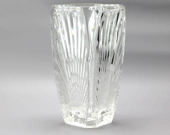 French Clear Glass Vase, Art Deco in style