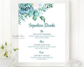 Signature Drinks Sign Art Print - Mint & Teal Garden