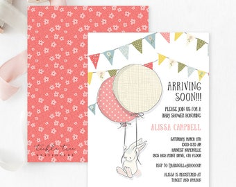 Baby Shower Invitations  - Darling Bunny Arriving Soon (Style 13643)
