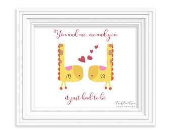 Children's Wall Decor, Instant Download, PDF Printable File - I Love You More/Girraffe (W00006)