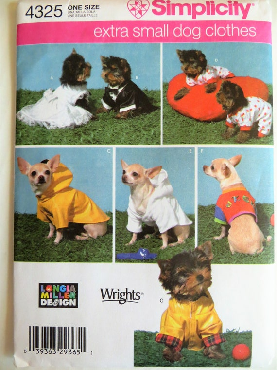 Simplicity 4325 Extra Small Dog Clothes Sewing Pattern Dog