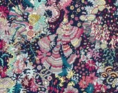 Fat eighth Ocean Forest A Liberty print,navy blue, coral and aqua Liberty of London tana lawn