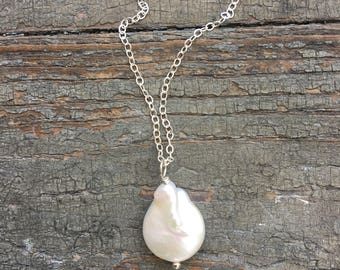 Fresh Water Pearl necklace, Sterling Silver Necklace / Fresh Water Pearl Sterling Silver Necklace - Wedding, Bridal, Gift