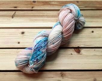 Made to Order | Pre-Order | Hand Dyed Yarn | Indie Dyed | Varying Weight | Superwash Merino Wool | Speckled | Blue | Pink | Sugar Plum