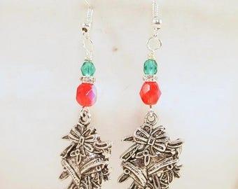 CIJ SALE Christmas Bell Earrings, Christmas Beaded Earrings. Christmas Dangle Pierced or Clip-on Earrings, OOAK Handmade Earrings, CKDesigns