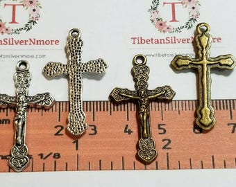 16 pcs per pack 34x20mm One side Crucifix Charm Antique Silver or Bronze Finish Lead Free Pewter