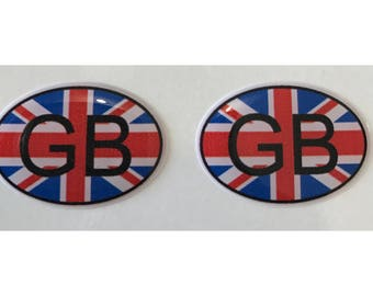 "Great Britain GB Domed Gel (2x) Stickers 0.8"" x 1.2"" for Laptop Tablet Book Fridge Guitar Motorcycle Helmet ToolBox Door PC Smartphone"