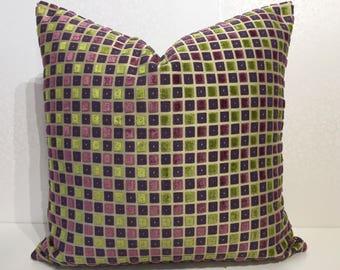 Plum PURPLE grannie smith APPLE GREEN check square design velvet of designer fabric cushion cover. Violet purple velvet square green cover