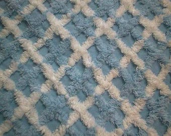 "Sky BLUE and WHITE Crosshatch Design Vintage Chenille Bedspread Fabric - 21"" X 24"" - #2"
