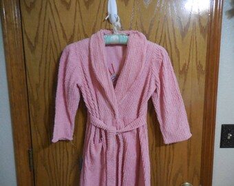 Pretty PINK Vintage Chenille Robe with PEACOCK - Pink Lines and Colorful Peacock Vintage Chenille Bathrobe -XS or Child? -  Free Shipping