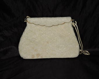 Vintage Ivory White Gold Beaded Purse Clutch Formal Party Shoulder Bag