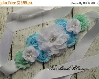 SALE Flower Maternity Sash Belt - Pregnancy Photo Prop -  Boy Maternity Sash - Blue White Green - It's a Boy - Belly Sash - Maternity Photo