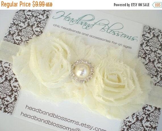 SALE SHOP BEST Seller - Shabby Chic Ivory Chiffon Flowers Pearl Rhinestone Center Elastic Headband - Newborn Baby Wedding Flower Girl Photo