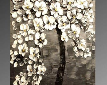 """SALE Original   abstract painting Cherry Blossom Tree gorgeous thick white  blossoms- Nicolette Vaughan Horner 36""""x24"""""""