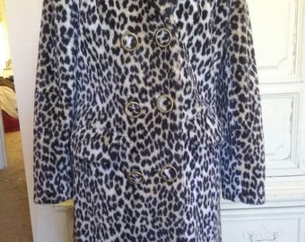 Now On Sale Vintage Leopard Coat 1960's Faux Fur Jacket Mid Century Mad Men Mod Winter Essential Stylish Hipster  Size Small