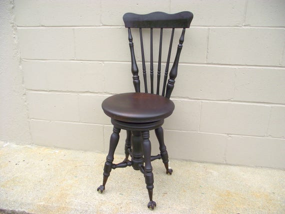 Antique Piano Stool Chair Eagle Claw Glass Ball Feet Round
