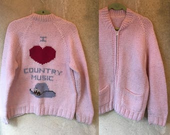 Pink COUNTRY MUSIC Pastel Chunky Knit Zip Up Baggy Heart Cardigan Sweater