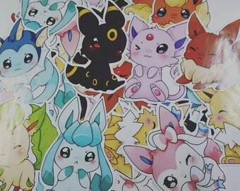 Chibi eevee eeveelutions paper sticker set - pokemon
