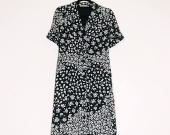 Vintage 70s Black White Floral Mid Calf Floral Dress