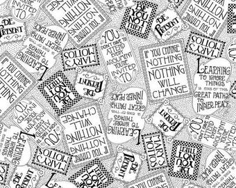 20 % off thru 8/20 MOTTOS To LIVE BY tossed sayings words on white Mary Engelbreit  by the 1/2 yard Quilting Treasures fabric-24353J