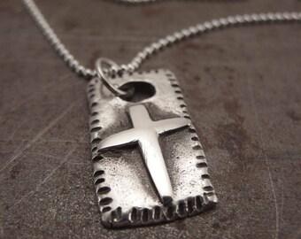Rustic Christian Cross Pendant Necklace Handmade for Men or Women