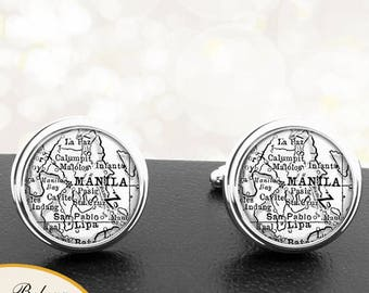 Vintage Map Cufflinks Manila Philippines Pacific Islands Cuff Links for Groomsmen Groom Fiance Anniversary Wedding Party Fathers Dads Men