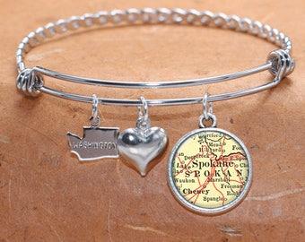 Spokane WA Map Charm Bracelet State of Washington Bangle Cuff Bracelet Vintage Map Jewelry Stainless Steel Bracelet