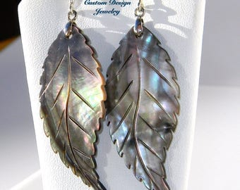 Mother of pearl shell hand carved leaf dangle sterling silver fancy post earrings
