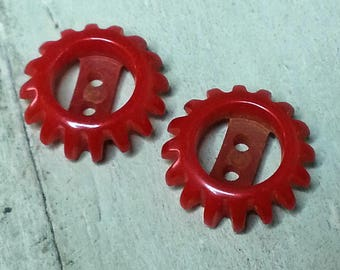 Wonderful Bakelite Gear Buttons ~ Cherry Tomato Red with Scarce Pierced Openwork Design ~ 5/8 inch 16mm ~ Small Bakelite Sewing Buttons