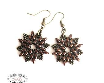Bronze color earrings. Beadwoven Earrings, Beaded earrings. Ready to ship