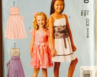 McCall's M6880, Size 3-4-5-6, Childrens' Dresses and Sash Pattern, UNCUT, Party Dress, Sundress, Wedding, Over Dress, Lined Bodice