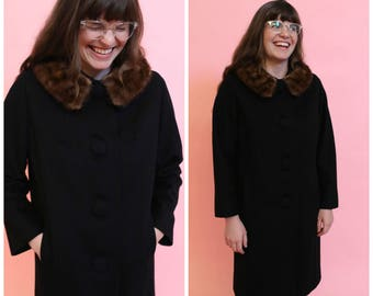 1960s Black Wool Swing Coat with Fur Collar